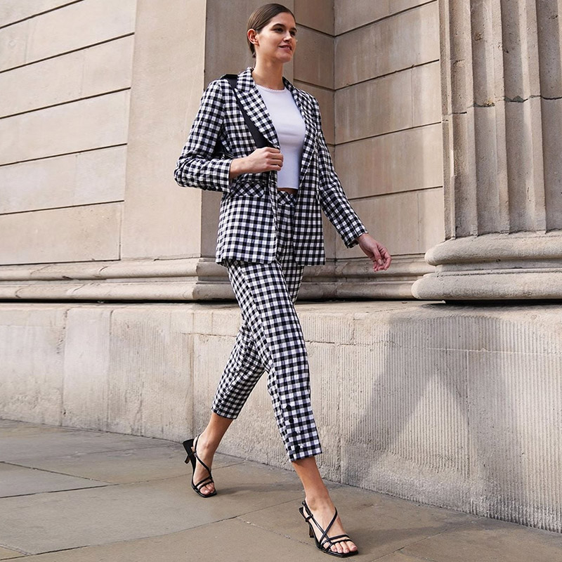2019 Female Business Suit Models Europe And The Autumn Women's Street Plaid Small Suit Long-sleeved Trousers Women Full Cotton