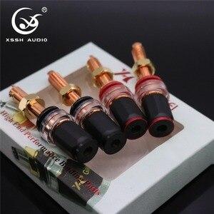Image 2 - 4Pcs Xssh Audio Hifi Diy Real Rood Koper Elektronische Banaan Plug Vrouwelijke Socket Speaker Eindversterker Terminal Lange Binding post