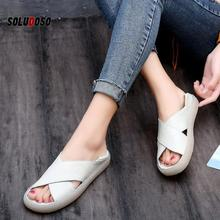 New Women Sandals Fashion Summer Casual Women Shoes PU Leather Ladies Flat Soft Bottom Slip On Sandals Handmade Woman Sandal fashion women boho sandals leather flat sandals ladies shoes indoor