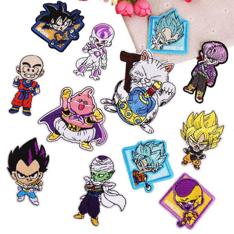 Cartoon Dragon Ball Embroidered <font><b>Iron</b></font> <font><b>On</b></font> <font><b>Patch</b></font> For Clothes Japan Anime DIY No Face Man Cute Sew <font><b>On</b></font> <font><b>Patch</b></font> <font><b>Kids</b></font> Clothes Appliques image