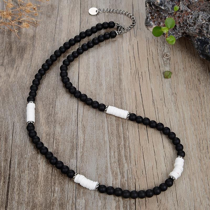 Ожерелье в стиле ретро для мужчин и женщин, модное Ювелирное Украшение из матового черного натурального тигрового глаза, черного Желчного К...