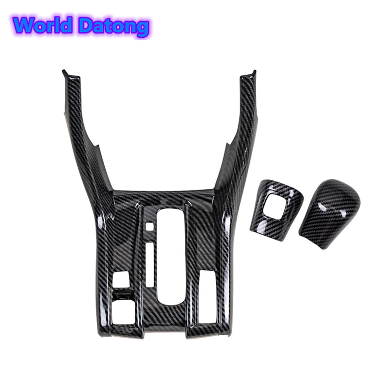 Carbon Fiber Drawing Inner Gear Shift Box Panel Frame Cover All Cover ABS Decoration Trim For Honda Civic 10th LHD 2017-2018