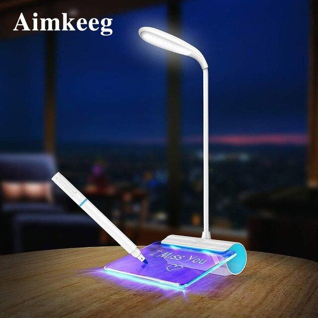 Lampe de bureau, Rechargeable par USB, 3 modes, interrupteur, avec panneau de Message, Protection des yeux, nouveauté LED messages