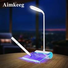 Mesaj ışık yenilik LED masa lambası göz koruması USB şarj edilebilir masa vantilatörü lamba 3 modu dokunmatik anahtarı çalışma lambası mesaj panosu ile