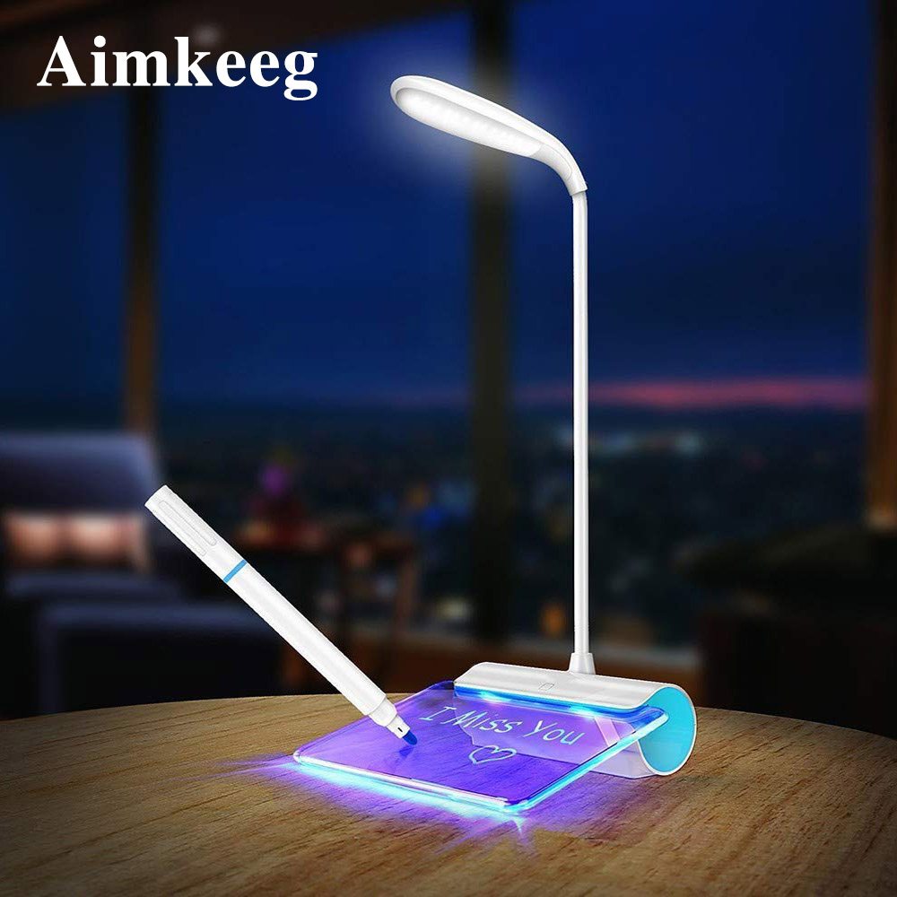 Message Light Novelty LED Table Lamp Eye Protection USB Rechargeable Desk Lamp 3 Mode Touch Switch Study Lamp With Message Board