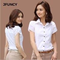 Jfuncy 2019 nova mulher ol camisa branca feminino curto mangas compridas workwear botão acima blusa para a senhora do escritório mais tamanho 4xl topos