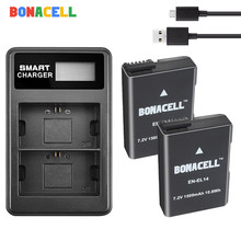 BONACELL 7.4V 1500mAh EN-EL14 ENEL14 EN EL14 Camera Battery + USB Charger For Nikon D5200 D3100 D3200 D5100 P7000 P7100 MH-24 зарядное устройство flama flc mh 24 для аккум батарей nikon en el14 flama flb en el14