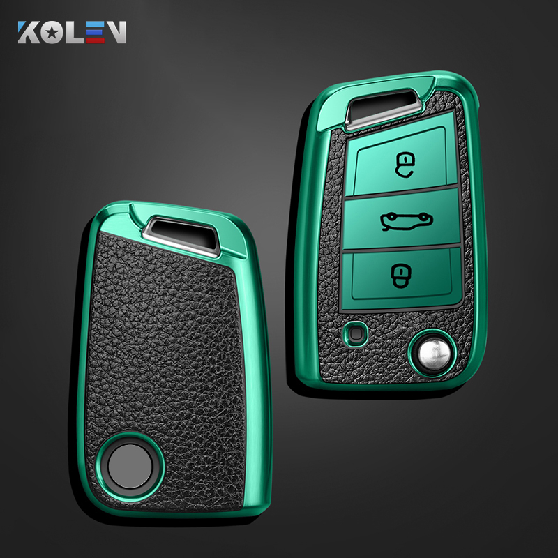 Leather TPU Car Remote Key Cover Case For Volkswagen VW Golf 7 MK7 Tiguan Seat Ibiza Leon FR 2 Altea Aztec For Skoda Octavia A7
