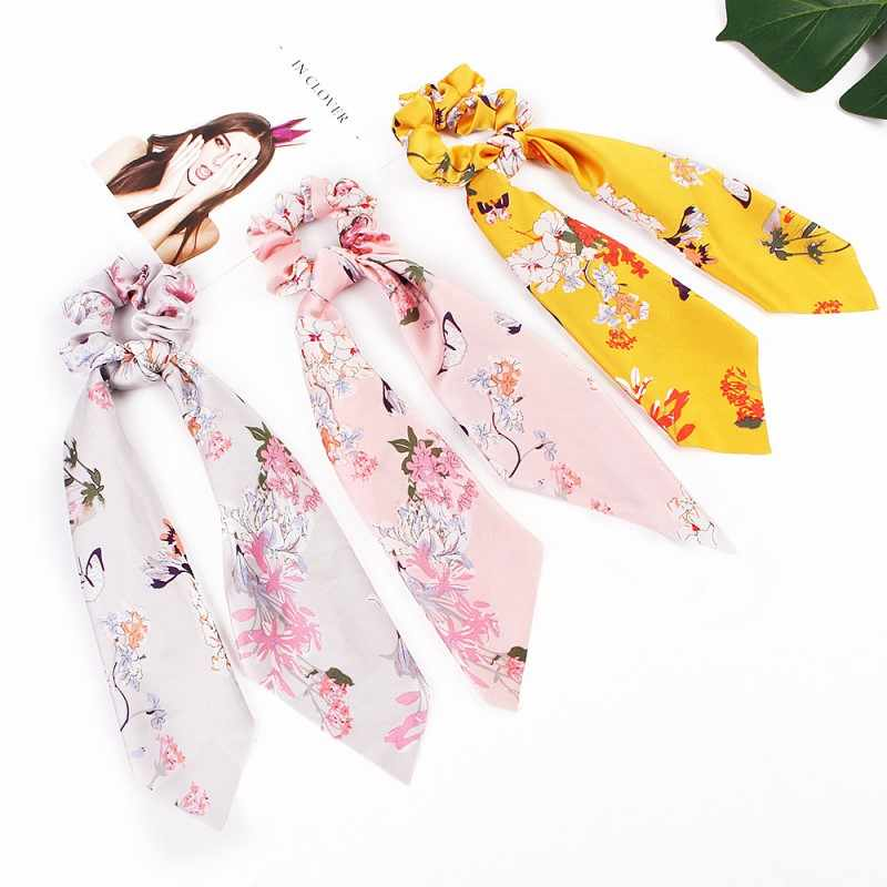 New Ponytail Holder Floral Hair Scrunchies Print Bow Satin Long Stripe Ribbon Scarf Tie Women Girls Hair Bands Hair Accessories