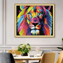 Pre-Printed Cross-Stitching Colorful Lion Pattern Cross