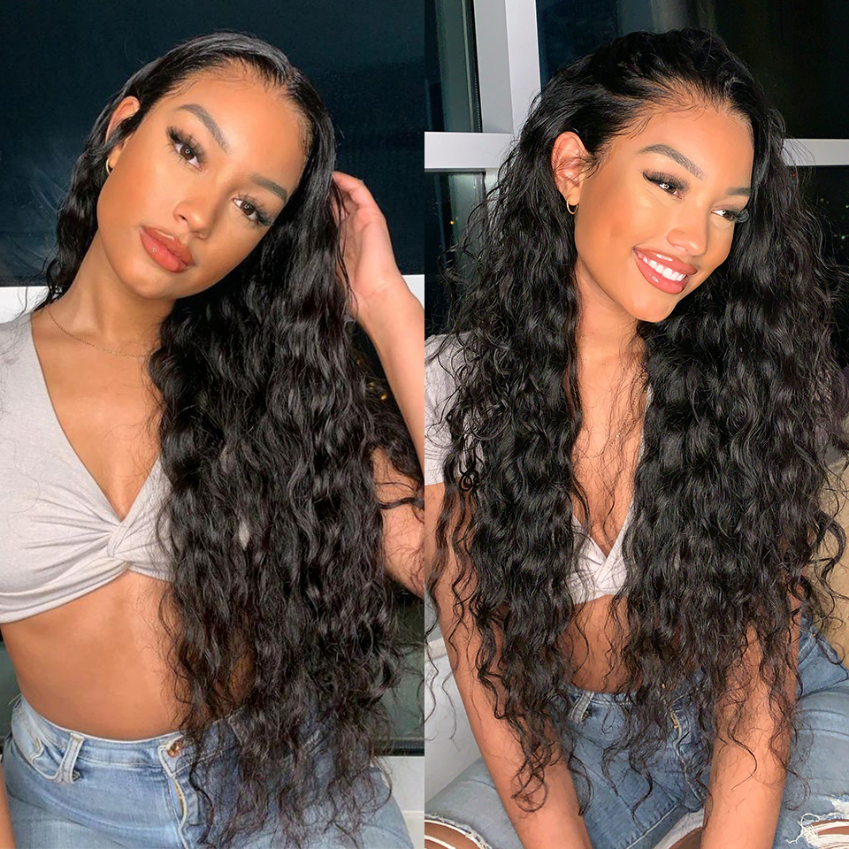 13*4 Brazilian Lace Front Human Hair Wig With Baby Hair Glueless Remy Water Wave Lace Front Wig Pre Plucked Remy Hair