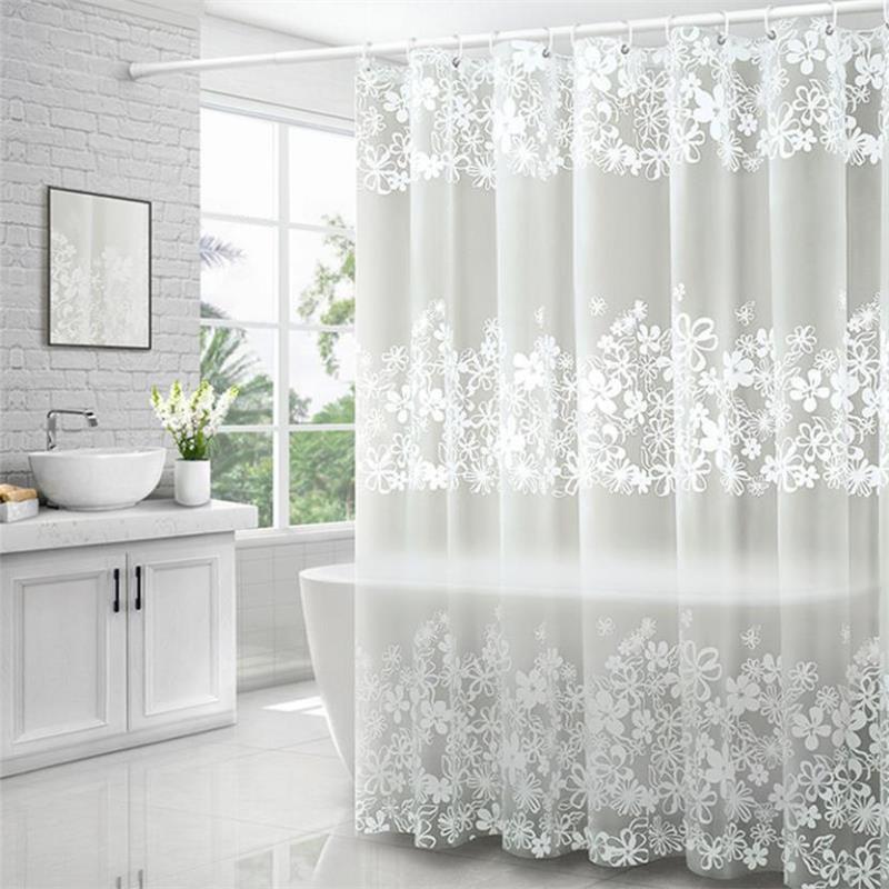 Bathroom Waterproof Shower Curtain Set With Hooks White Flower Vine Print Mildew Proof Curtains Translucent Bath Screen Decor