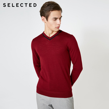 SELECTED 100% Wool V neckline Long sleeved Pullover Knit Mens Autumn Sweater Clothes T