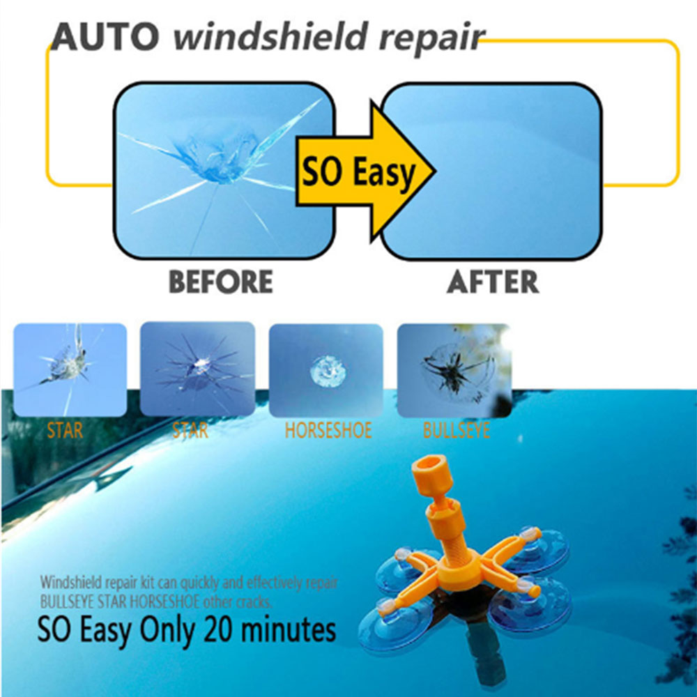 Windshield repair agent car front windshield fluid suction cup glass tool