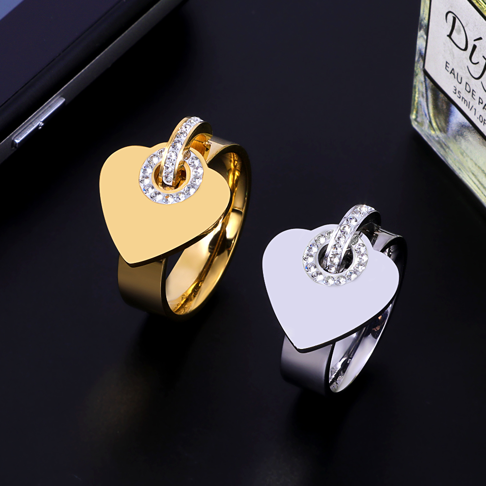 Luxury Brand Girl Women Ring Crystal Pendants Stainless Steel Charm Finger Rings Sweet Heart Trendy Female Jewelry Gift