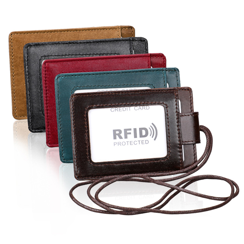 Genuine Leather ID Card Holder With Lanyard RFID Blocking Card Cover For Chest Card Hangtag Work Pass Student Bank Cards Pouch