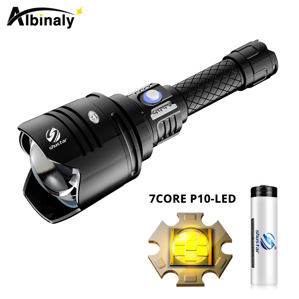 Super Bright LED Flashlight With 7 Core P10 LED Lamp Bead Support Zoom Zoom + 4 Lighting Modes Waterproof Expedition Lamp