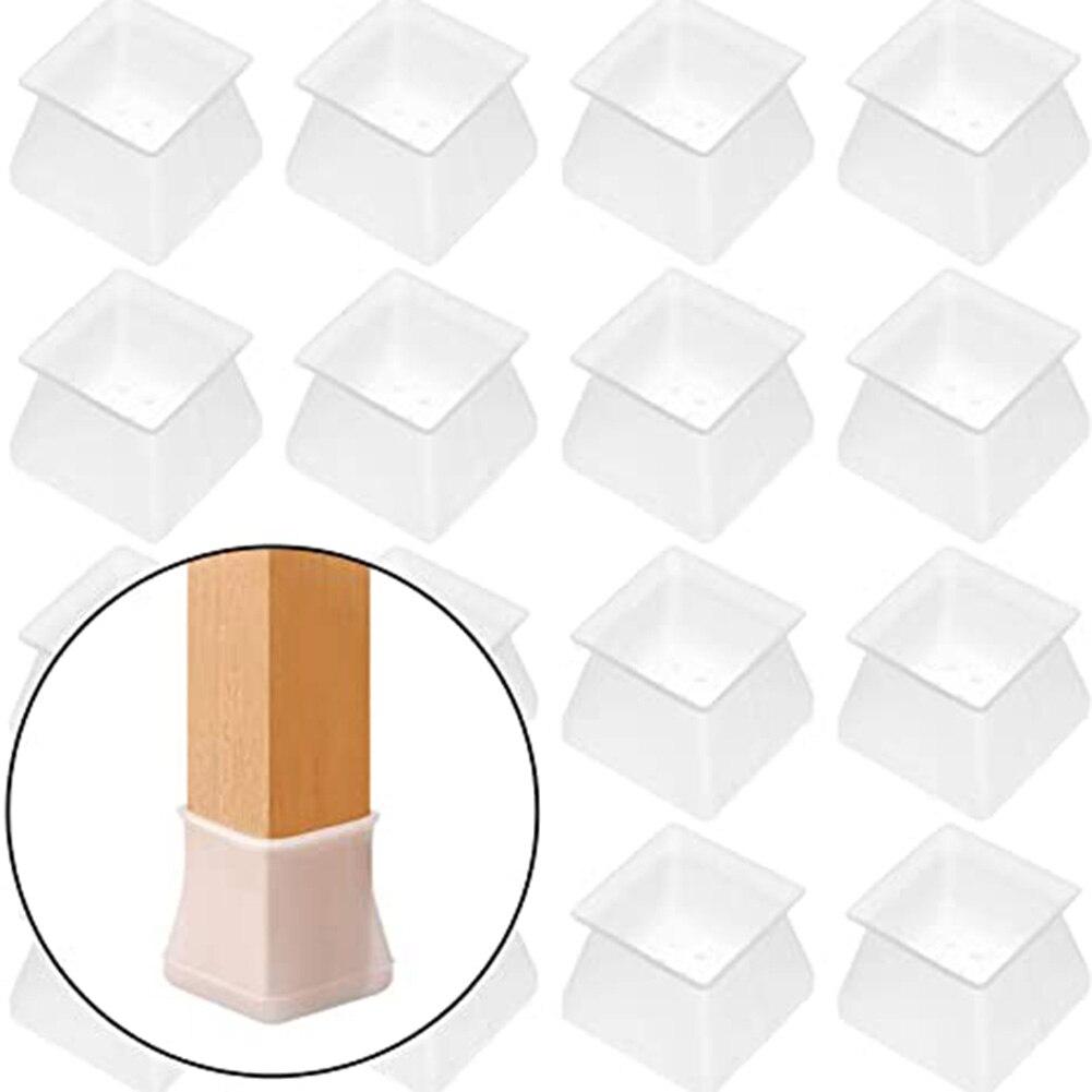 4/8/16 pçs protetor de móveis capa proteção de silicone quadrado para cadeira perna piso protetor acessórios para casa Dropshipping-V12
