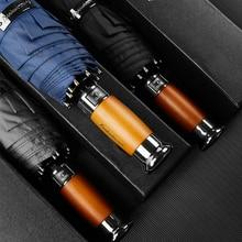 Large Umbrella Fully-Automatic Wooden-Handle Rain Business Brand 10K Men Genuine