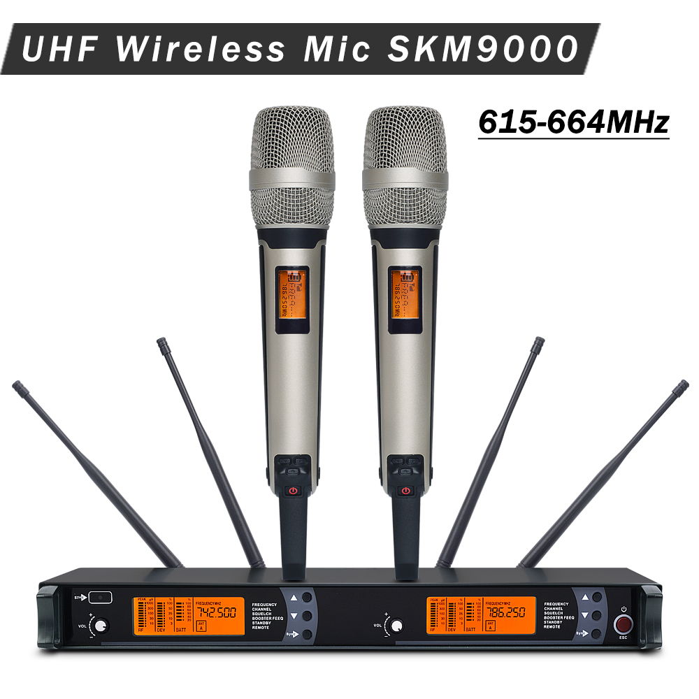 4 Antenna for Stage Professional SKM9000 UHF Wireless Microphone Karaoke System with Golden Color Dual Handheld