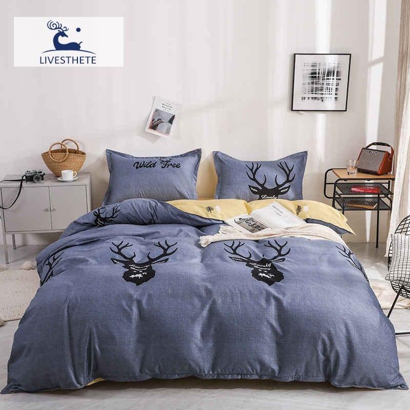 Liv-Esthete Nordic Bedding Set Deer Double Zipper Duvet Cover Flat Sheet Gift Mans Flat Sheet Bed Linen Set Adult Bedclothes