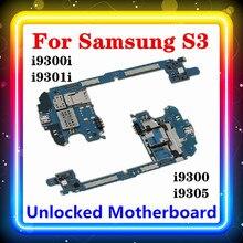 100% original mainboard para samsung galaxy s3 i9300/i9305/i9300i/i9301i placa mãe com chips placa lógica 16gb