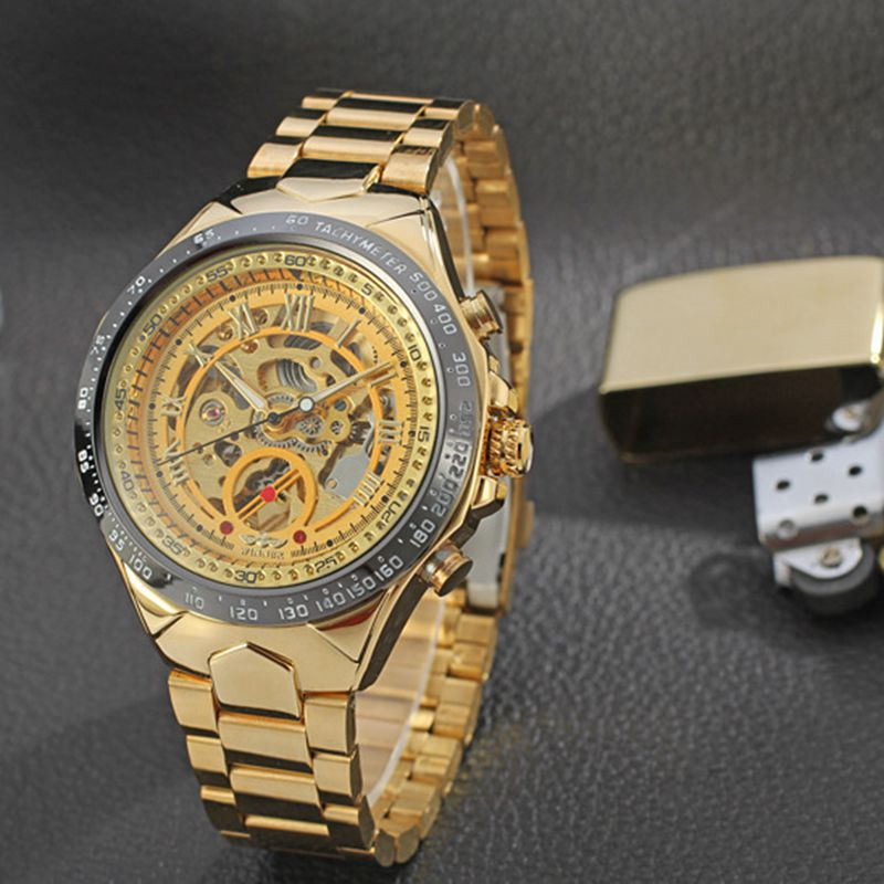 WINNER Men Gold Watches Automatic Mechanical Watch Male Skeleton Wristwatch Stainless Steel Band Luxury Brand Sports Design