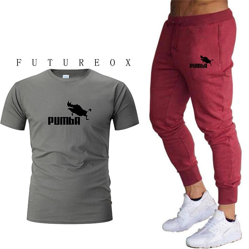 New Men's Fashion Two-piece T-shirt Pants Suit Men's Summer T-shirt Fashion Brand Printed T-shirt Quality Sportswear 2 Pieces Of