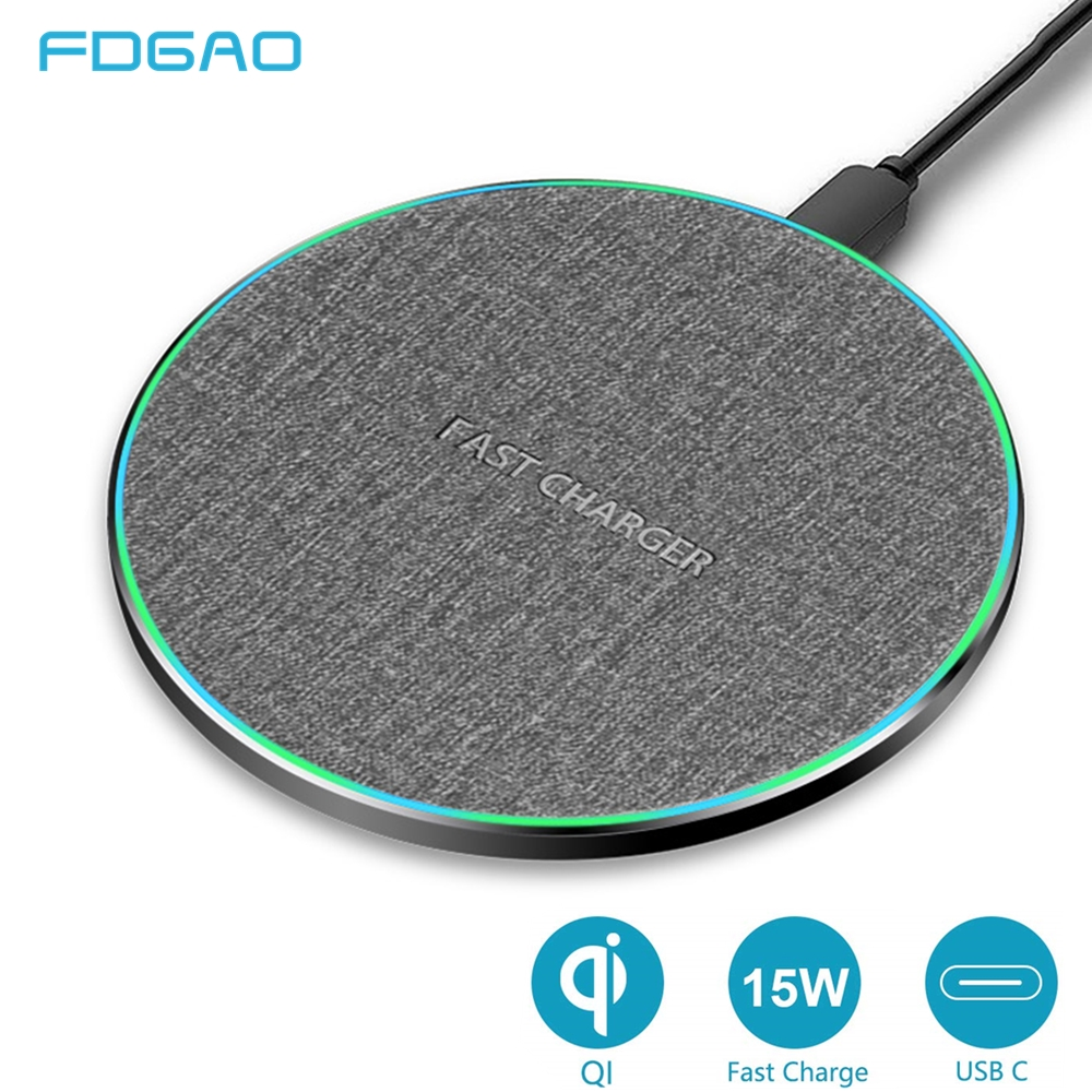 FDGAO 15W Quick Qi Wireless Charger For Iphone 11 Xs Max/XR/X/Huawei Mate20 Pro/ Samsung S8 S9 S10 Fast 10W Wireless Charger Pad