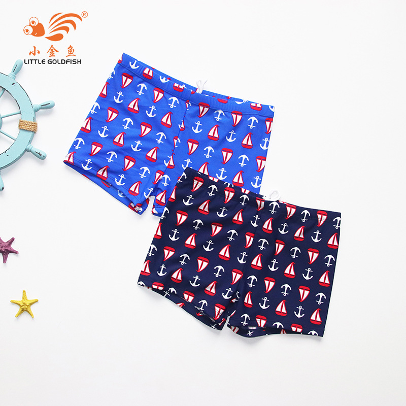 2018 New Style CHILDREN'S Swimming Trunks Cartoon Boat Anchor Boxers Beach Hot Springs Swimming Trunks Manufacturers Direct Sell