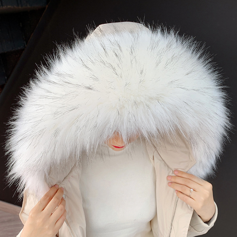 Faux Fur Collar For Parkas Coats Luxury Warm Raccoon Winter Scarf Shawl Women Large Fur Scarves Male Down Jacket Fur Hat 60-90cm