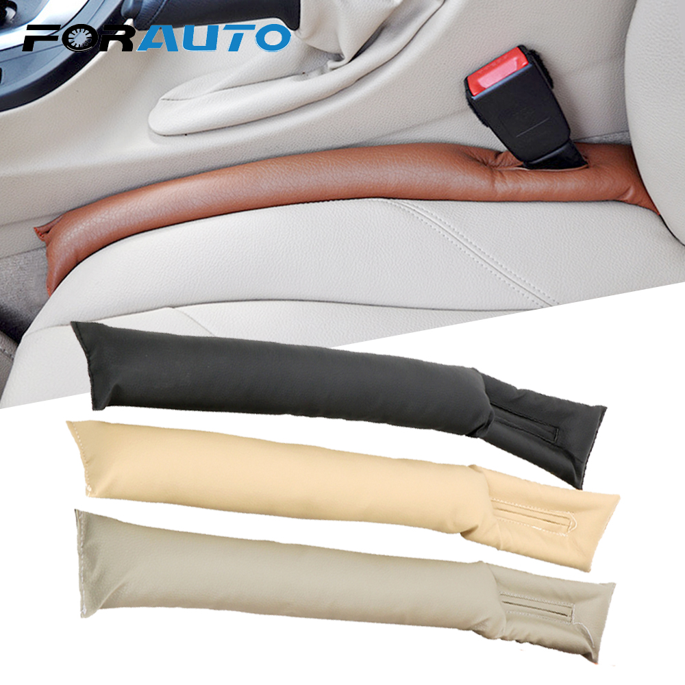 FORAUTO Leather Auto Seat Gap Filler Spacer Stopper Anti Drop Car Chair Space Filling Strip Leak Stop Phone Pad Blocker Holster