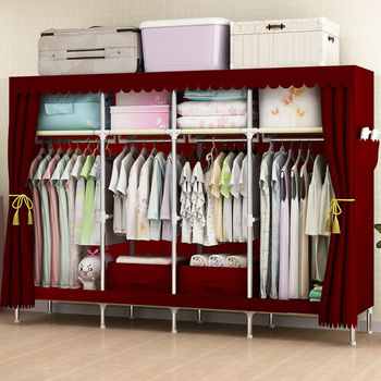 Large Cloth for 2 3 People Clothes Wardrobe for Family Clothing Hanging Storage Cabinet Oxford Closet