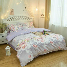 Floral Bedroom Washable Quit Cover Decorative Pillow Case Home Textile Pastoral Bedding Set Bed Sheet Zipper(China)