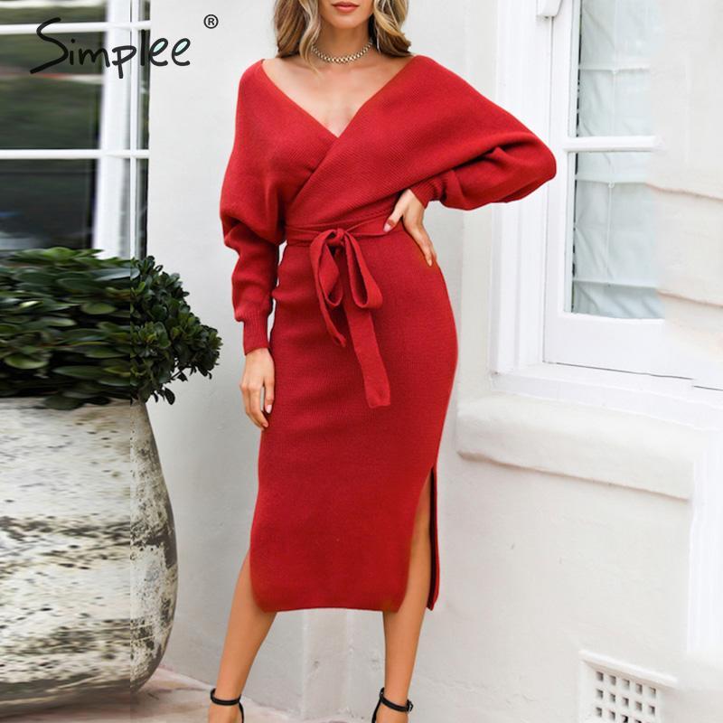 Simplee сексуальное трикотажное платье с v-образным вырезом, женское однотонное осеннее платье-футляр с высокой талией, элегантное офисное жен...