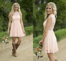 Горячая продажа короткие платья невесты страна 2020 скромный румяна кружева высокая шея пляж сад до колен свадьба гость платье