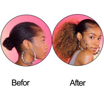 AISIBEAUTY Afro Kinky Curly Hair Extension Drawstring Puff Ponytail Synthetic Clip in Pony Tail  African American Hair Extension 4