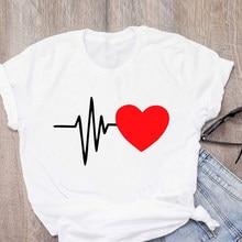 2021 Harajuku Ullzang ECG Printed T shirt Women Short Sleeve T-shirt Femme Ulzzang Vintage Top Tees