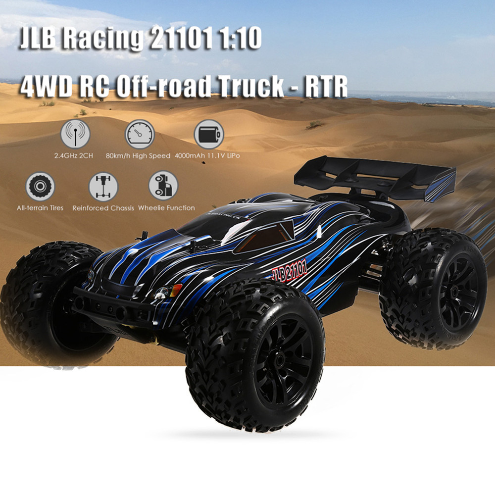 JLB Racing 21101 1:10 4WD RC Brushless Off-road Truck RTR 80 - 100km/h / 3670 2500KV Brushless Motor Wheelie Function Climb Cars