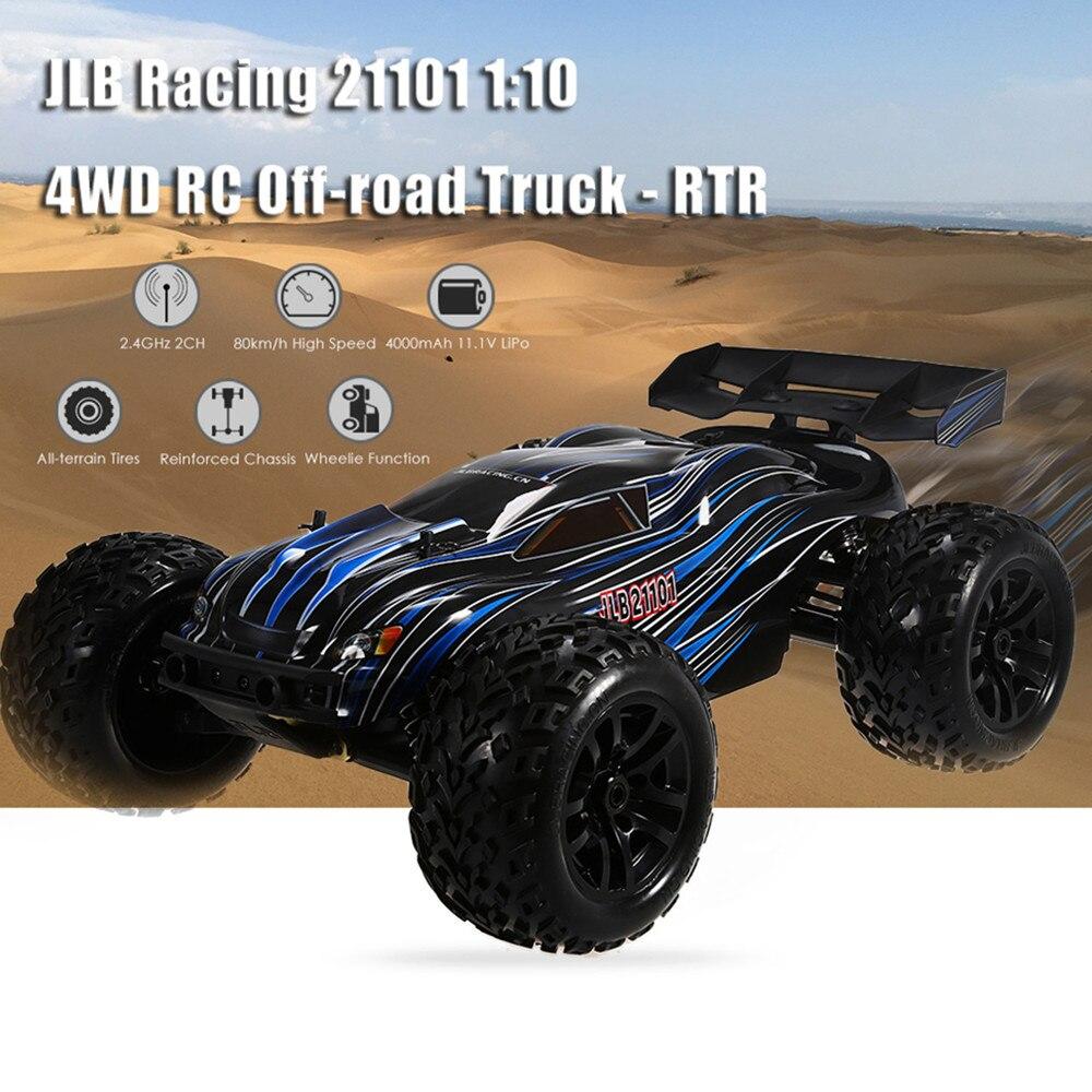 Jlb racing 21101 1:10 4wd rc sem escova caminhão fora de estrada rtr 80-100 km/3670 2500kv brushless motor wheelie função subir carros