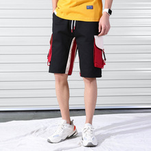 Men Buckle Zipper  Side Stripe Pocket Cargo Baggy Shorts Tactical Homme Sport Cotton Sweatpants Summer Plus Size