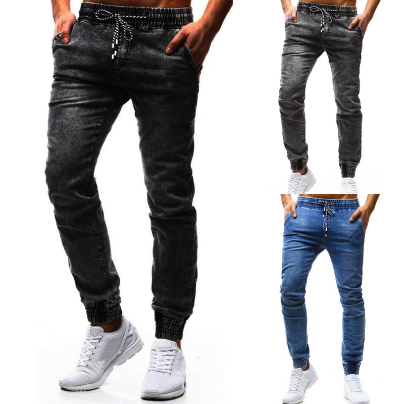 2018 Men'S Wear Supply Of Goods New Style Classic Loose-Fit With Drawstring Elastic Men Casual Skinny Jeans K99