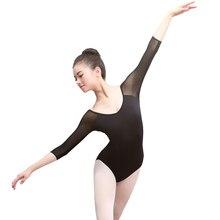 Adult Gymnastics Leotard Black Mesh Ballet Leotards for Women Ballet Dances Long Sleeve Justaucorps Dance Bodysuit
