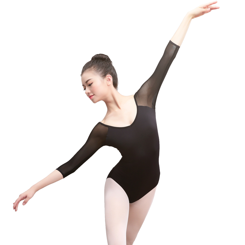 Adult Gymnastics Leotard Black Mesh Three quarter Sleeve Ballet Leotards for Women Dance Wear can insert pad