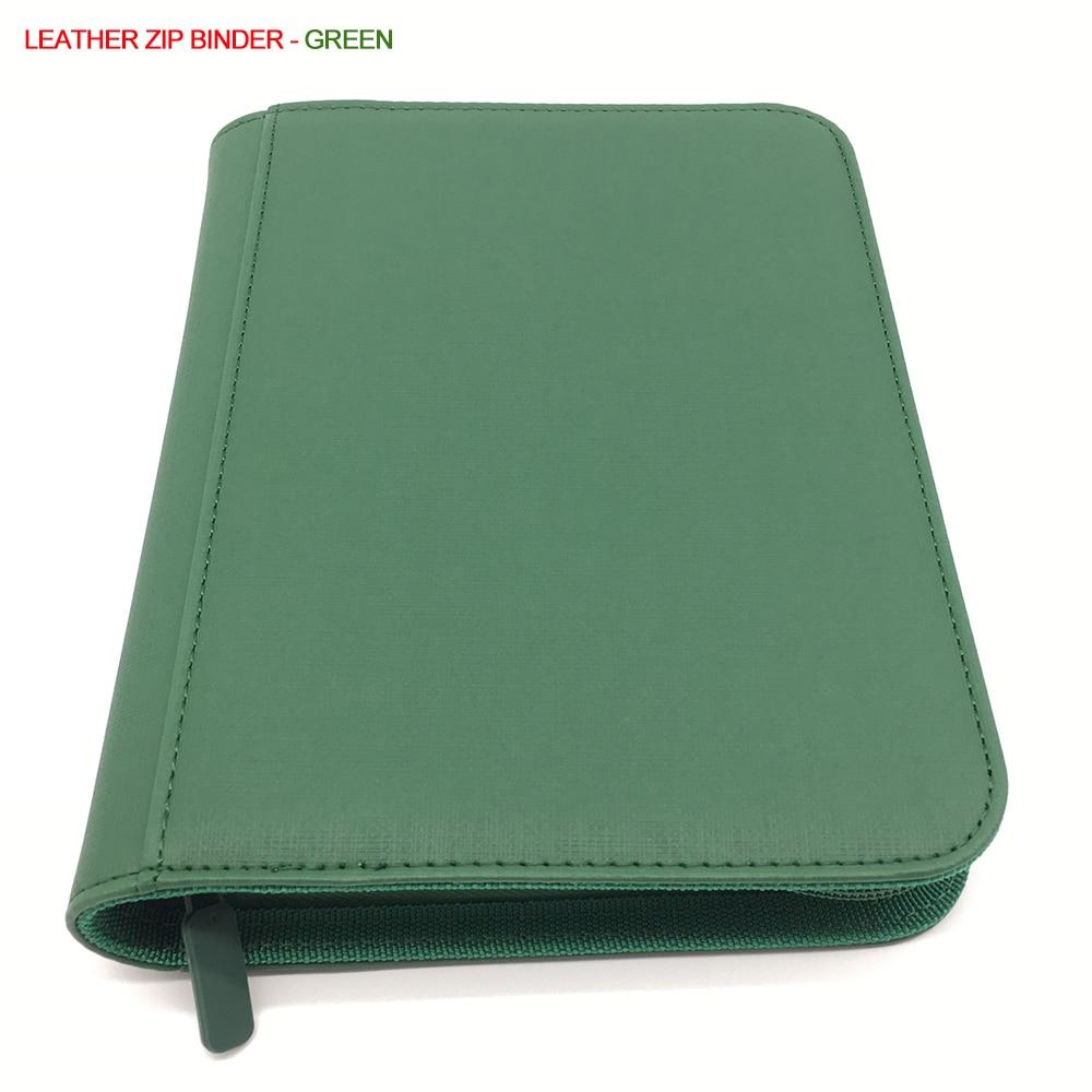 Leather Carrying Case Zip Card Binder Pokemon Album - Trading Card Album Folder Side Loading Yugioh Card Binder - Green