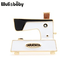 Wuli&baby 3-Color Enamel Sewing Machine Brooches Women Alloy Classic New Design Banquet Party Brooch Pins Years Gifts