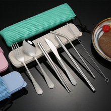 цена на 304 Stainless Steel 7Pcs/set Tableware Reusable Travel Cutlery Set Camp Utensils Set with stainless steel Spoon Fork Chopsticks