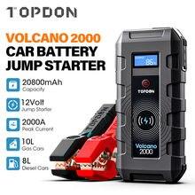 Topdon 20800mah carro ir para iniciantes v2000 12v 2000a pico de emergência portátil sem fio carga power bank booster start dispositivo