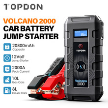 Booster-Start-Device Power-Bank Jump-Starter TOPDON Portable V2000 Wireless-Charge 20800mah-Car