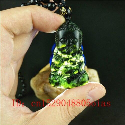 Chinois sculptés à la main 100/% NATUREL JADE VERT JADE Poisson Rouge Collier Pendentif